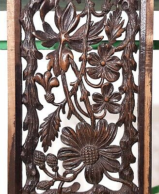 Paradise Lace Panel Antique French Hand Carved Wood Flower Miniature Sculpture 8