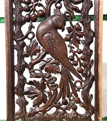 Paradise Lace Panel Antique French Parrot Hand Carved Wood Sculpture Miniature 7