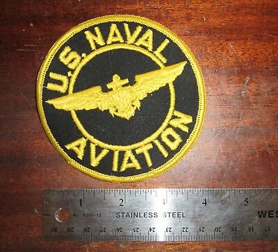 """US Naval Aviation Navy 4"""" Original Vintage Sew-On Embroidered Cloth Patch"""