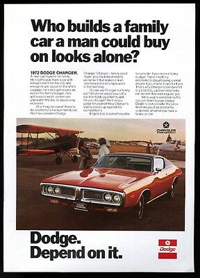 1972 Dodge Charger red car at airport photo vintage print ad