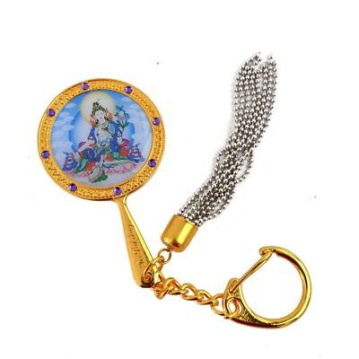 White Tara Mirror Keychain for Pacifying Illness and Anger W1604