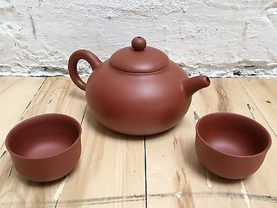 Sweet TERRA COTTA Clay Asian Ceremonial Little TEAPOT + 2 TEA CUPS SET Brand New