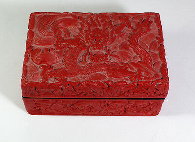 Collectible Chinese DRAGON Red Cinnabar Box - Estate