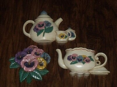 Homco Home Interiors Burwood Pansy Tea Pot Cup Wall Plaque Picture Accent Set 3