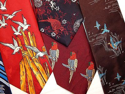 5 pc Vtg 70's MoD BIRD LOVERS Necktie LOT DOVES PARROTS FAT WIDE Neck Tie RETRO