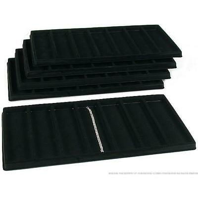 5 Black 7 Compartment Bracelet Display Tray Inserts
