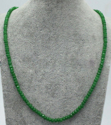 Genuine Natural 2x4mm Green Jade Faceted Gems Beads Necklace 18'' Y22151