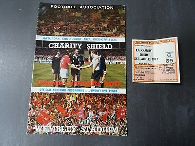 1977 FA Charity Shield Programme and Ticket - Liverpool v Manchester United