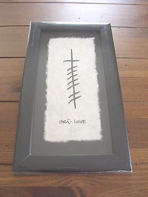 Gra or Love wood framed Wall Plaque by Ogham Wishes, hand made Paper & Ink Work