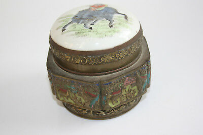 Antique/Old Chinese Bronze Carved Picture Box with Painted Porcelain on Top Lid