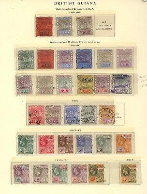 British  Guiana    nice page lot   better stamps        KL1217