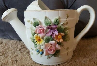 """LEFTON CHINA Hand Painted 3"""" Floral Garden Pitcher KW6968"""