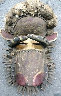 Powerful Ceremonial Dan Guere Bells Power Fetish Mask Wood Pig Face Ethnix