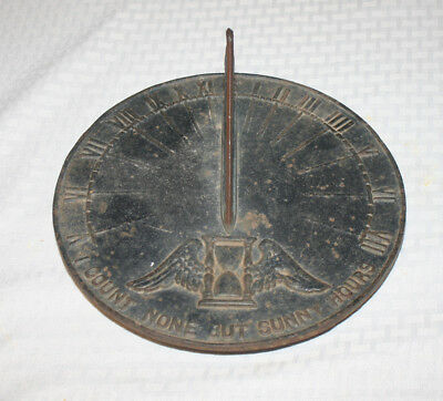 """Vintage Cast Iron Sun Dial Virginia Metalcrafters """"I Count None But Sunny Hours"""""""
