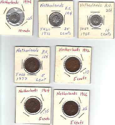 Lot of 7 Different 1960's and 1970's Netherlands 5, 10, 25 Cents XF