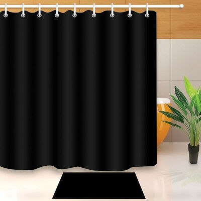 Vintage Solid Black Shower Curtain Fabric Waterproof Bathroom 12 Hooks 7132