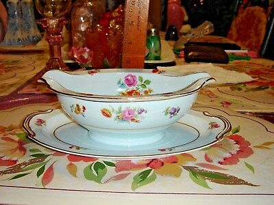 Vtg Mint French Country Cottage Floral Flower Noritake Occupied Japan Gravy Boat