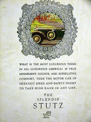 Art Deco STUTZ Automobile Advertising Car Ad 1928 Matted