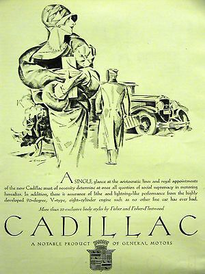 CADILLAC Art Deco Automobile Ad FISHER BODY 1928 Matted