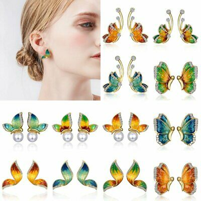 1Pair Women Charm Crystal Rhinestone Enamel Butterfly Stud Earrings Jewelry Gift