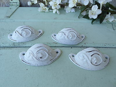 Distressed White Cast Iron Metal Cup Handle Drawer Pull Knob Hardware