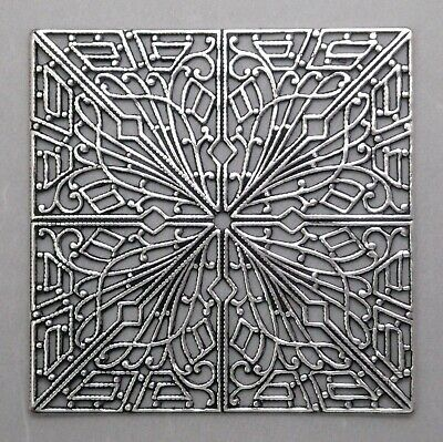 #4020 LARGE ANTIQUED SS/P SQUARE OPEN FILIGREE COMPONENT - 1 Pc Lot