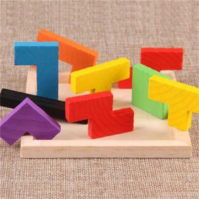 Wooden Tangram Brain Teaser Puzzle Tetris Game Educational Baby Kids Toy Gift LD