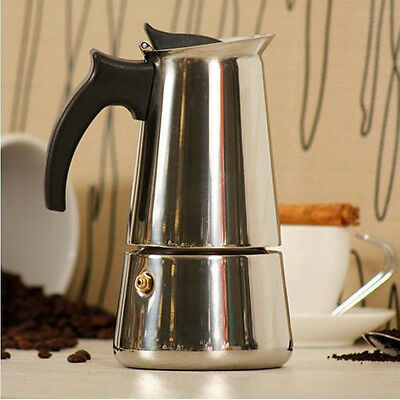 Espresso Moka Coffee Maker Pot Stainless Steel Percolator + Electric Stove 6-Cup