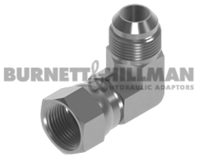 Burnett & Hillman JIC Male x JIC Swivel Female 90° Forged Compact Elbow Adaptor