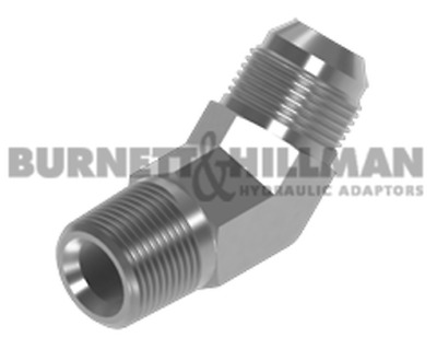 Burnett & Hillman NPTF Male x JIC Male 45° Forged Compact Elbow Adaptor