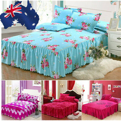 Floral Bed Skirt Bedspread Cover Sheet Queen King Size / Pillow Case Bed Decor
