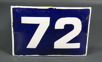 Wwii German Door House Street Porcelain Enamel Tin Sign Plate Plaque Number #72