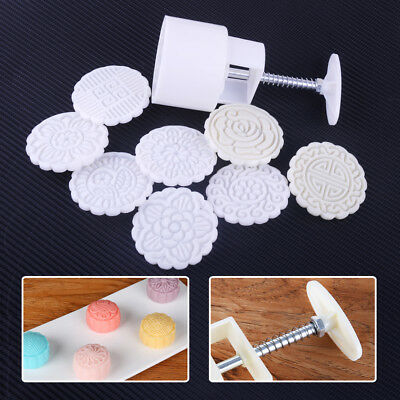 8 Flowers Stamps Mooncake Round Mold Mould Pastry Biscuit Cake Baking Tool Set