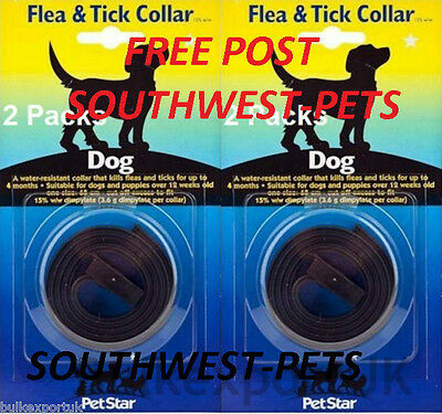 Dog Flea Collar, Dog Collar, Two Collars And Free Post, Twin Pack Dog Collars