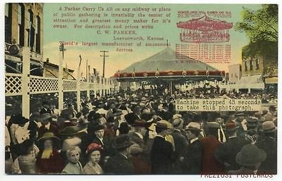 CW PARKER CAROUSEL Merry Go Round AD POSTCARD Leavenworth KS ca1908