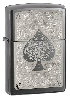 Zippo Lighter: Ace of Spades Filigree - Black Ice 28323