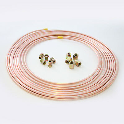 "25ft Brake Copper Pipe Tube 3/16"" OD x 0.131"" ID + 5 short male + 5 female nuts"