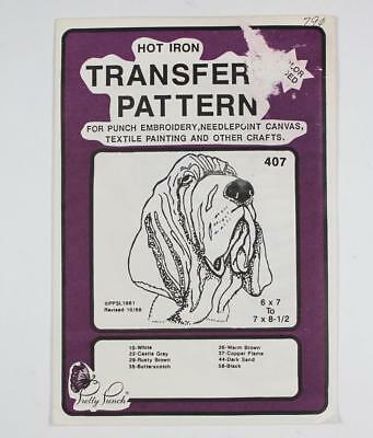 Pretty Punch Hot Iron Transfer Pattern #407 Bloodhound Embroidery Needlepoint