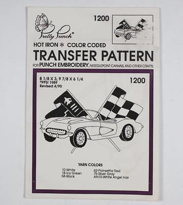 Pretty Punch Hot Iron Transfer Pattern #1200 Corvette Embroidery Needlepoint