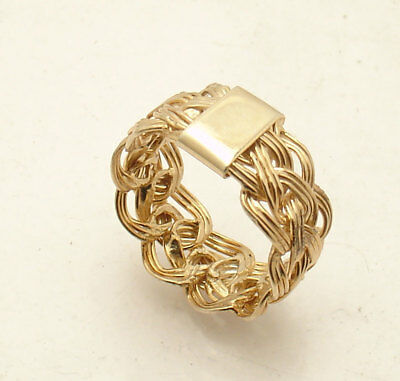 Size 8 Technibond Basket Woven Braided Ring 14K Yellow Gold Clad 925 Silver