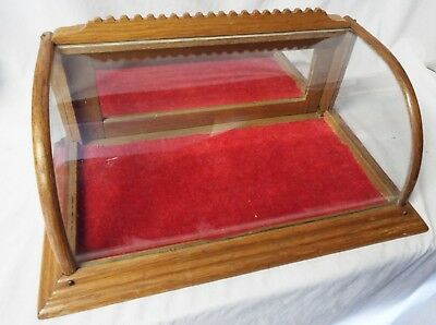 Antique SMALL Victorian OAK &  CURVED GLASS Counter Top SHOWCASE DISPLAY CASE