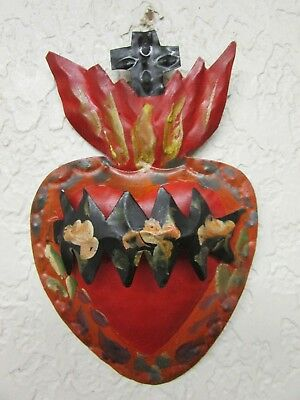 Tin Sacred Heart #5-Mexican Folk Art-Handmade-Beautiful-5x7.5 Sagrado Corazon