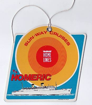S SS HOMERIC Home Lines BAGGAGE Tag CRUISE SHIP Liner SUN WAY - Homeric cruise ship
