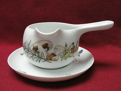 HUTSCHENREUTHER CHINA - COUNTRY - GRAVY / SAUCE SERVER w/UNDERPLATE - MUSHROOMS