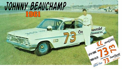CD_2641 #73 Johnny Beauchamp   1961 Chevrolet   1:25 Scale Decals