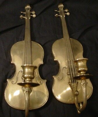 PAIR of  Vintage Andrea by Sadek Brass Violin Violla Candle Holder Wall Sconce