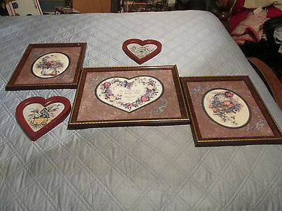 Home Interiors Set of 3- Mixed Fruit '' Pictures  & 2 Heart shaped 5pc