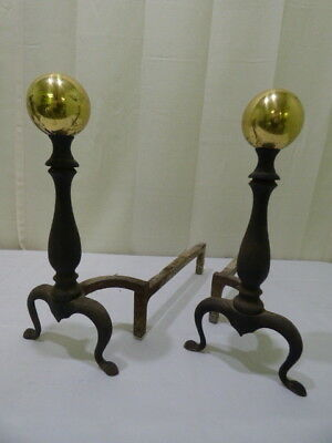 Vintage Cast Iron Solid Brass Cannon Ball Fireplace Andirons Fire Dogs