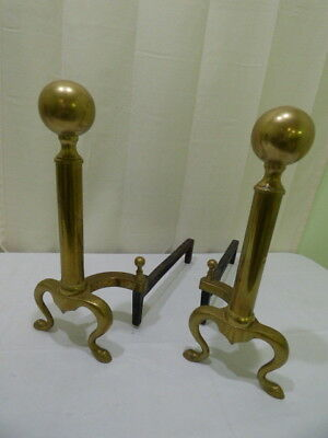 Vintage Solid Brass Cast Iron Cannon Ball Fireplace Andirons Fire Dogs