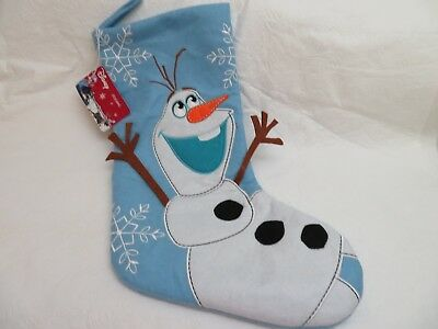 "Disney FROZEN OLAF Christmas Stocking 18"" Light Blue Felt Snowflakes Embroid NWT"